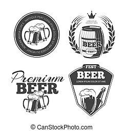 Beer festival vector emblems, labels, badges, logos set