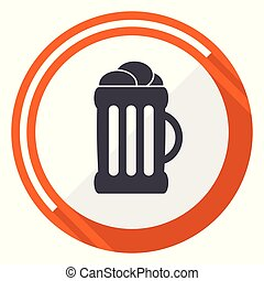 Beer flat design vector web icon. Round orange internet button isolated on white background.
