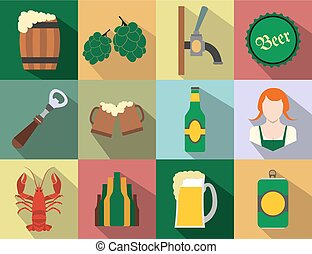 Beer flat icons set