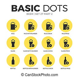 Beer flat icons vector set