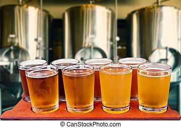 beer flight - Beer flight of eight glasses of craft beer on...