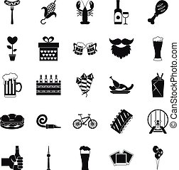 Beer get together icons set, simple style - Beer get...