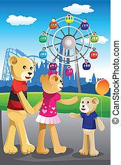 beer, gezin, hebbend plezier, op, vermakelijkheid park