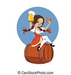 Beer girl in dirndl on keg with pretzel pinup - smiling...