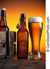 Beer glass and beer crate