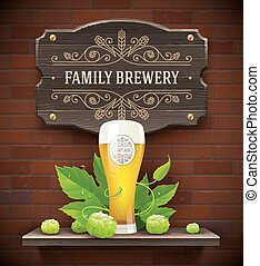 Beer glass and beer signboard