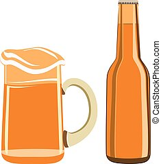 Beer glass and  bottle vector isolated