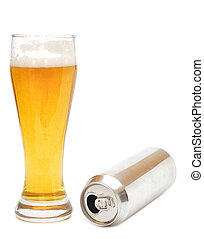 Beer glass and empty can