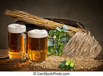 Beer Glass And Hops - Still life with glass of beer and raw...