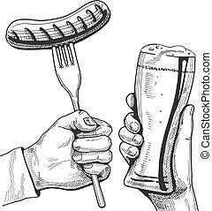 beer glass and sausage on fork