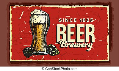 Beer Glass Cup Brewery Advertising Poster Vector