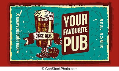 Beer Glass Favorite Pub Advertising Poster Vector