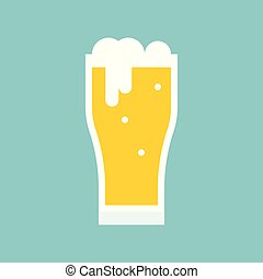 Beer glass icon, flat design vector
