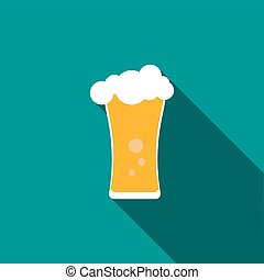 Beer glass icon, flat style