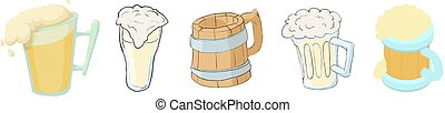 Beer glass icon set, cartoon style