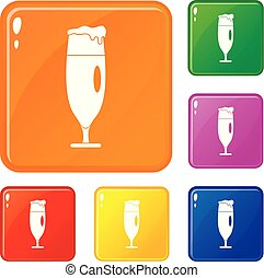 Beer glass icons set vector color