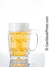 Beer glass jar on white background.