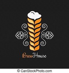 beer glass logo design background