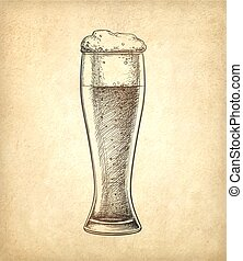 Beer glass on old paper background.