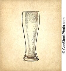 Beer glass on old paper background