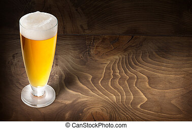 beer glass on wooden