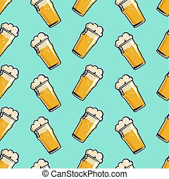 beer glass seamless pattern. Hand drawn retro style.