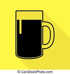 Beer glass sign. Black icon with flat style shadow path on yellow background.