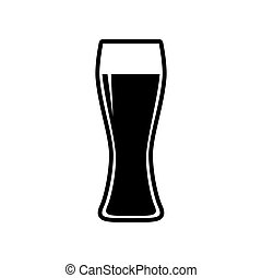 Beer glass sign. Flat style black icon on white.
