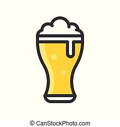Beer glass vector, Feast of Saint Patrick filled icon editable outline