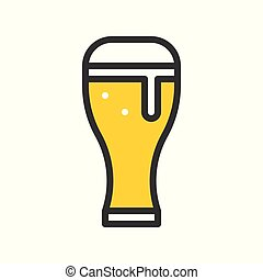 Beer glass vector, filled outline icon