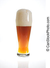 Beer glass with beer in backlight