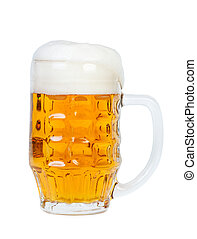 Beer glass with beer and foam on white background.
