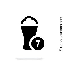 Beer glass with number simple icon on white background.