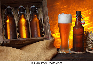 Beer glass with wooden crate
