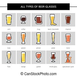 BEER GLASSES - All types of beer glasses, different colors....