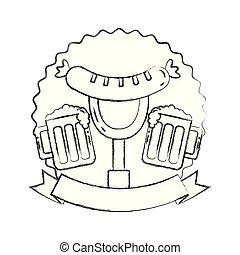 beer glasses and sausage on fork emblem