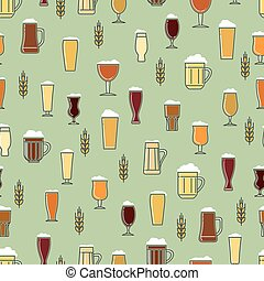Beer glasses colorful seamless pattern
