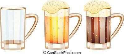Beer glasses, different versions - empty, light beer, dark...