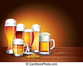 Beer glasses on wooden table, dark background - Still life...
