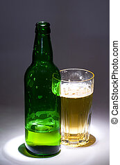 Beer green bottle with glass