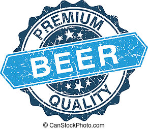 Beer grungy stamp isolated on white background