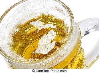 Beer head shaped as Michigan in a beer mug.(series) - Beer...