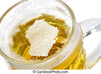 Beer head shaped as Wisconsin in a beer mug.(series)