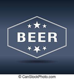 beer hexagonal white vintage retro style label