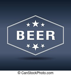 beer hexagonal white vintage retro style label