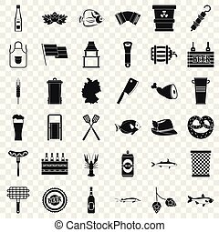 Beer holiday icons set, simple style