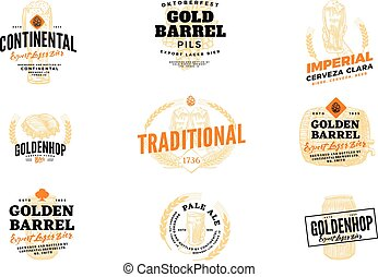 Beer Hop Logo Set - Isolated colored beer hop logo set with...