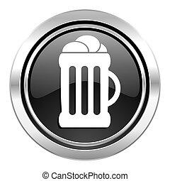 beer icon, black chrome button, mug sign