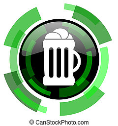beer icon, green modern design isolated button, web and mobile app design illustration