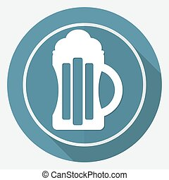Beer icon on white circle with a long shadow